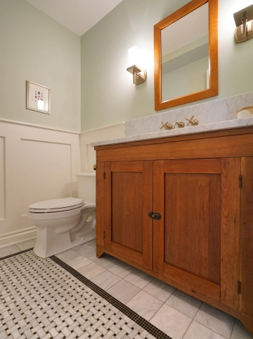 New Powder Room with Marble Counter on Antique Cabinet